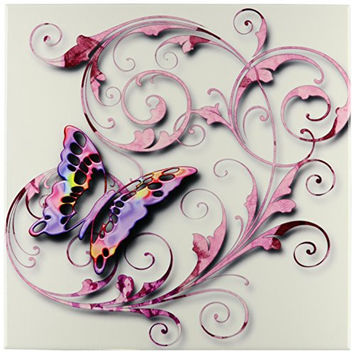 3dRose ct_167212_4 Golden Accented Vines & Pretty Multi Colored Butterfly Ceramic Tile, 12""