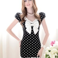 Veegol Fashion Dots Printed Bowknot Embellished Lace Dress Black - DinoDirect.com