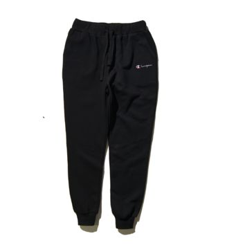 Tide brand new CHAMPION English embroidery small standard simple elastic movement beam feet trousers long pants male Black