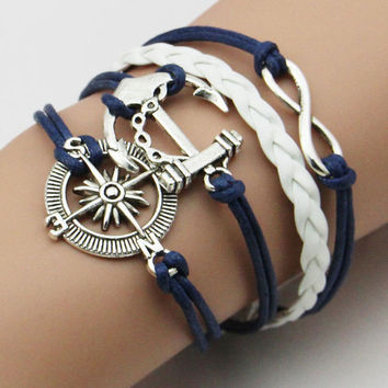Wrap Leather Bracelet Charm Bracelets pulseira couro Bracelets for Women Vintage Anchors Bracelet SM6