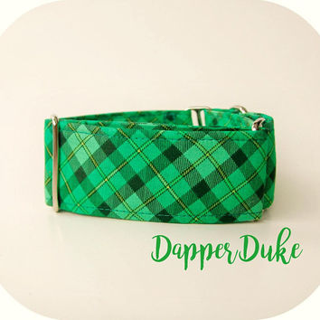 Green Plaid Martingale Dog Collar, Wide St. Patrick's Day Themed Custom Buckle Collar, Small to Extra Large Sizes