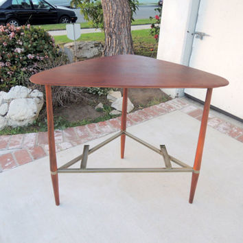 Mid Century Modern Corner or Console Table Walnut