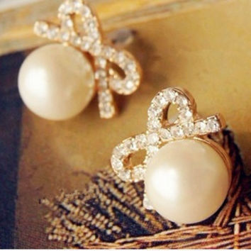 Fashion Jewelry big Pearl Bow full crystal rhinestone Womens Earrings For Women (Color: White) = 1669361092
