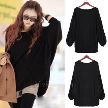 Women Batwing Sleeve Oversized Sweater Loose Jumper Pullover Knitwear Top VVF (Size: M)