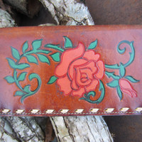 70s Hand Tooled Floral Western Leather Wallet // Vintage Cowgirl Billfold