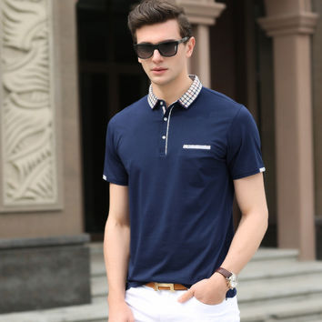 Summer Men Pullover Short Sleeve Cotton Casual With Pocket Tops T-shirts [6543954819]