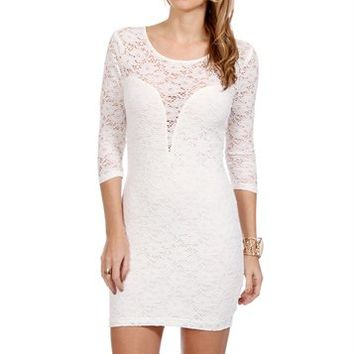 Ivory Long Sleeve Lace Sweetheart Dress