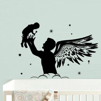 Wall Decal Vinyl Decal Sticker Nursery Kids Baby Dad Daddy with Baby Wings Stars z539