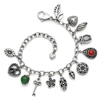 Stainless Steel Flower, Heart, Key, Owl & Teardrop & Glass Charm Bracelet
