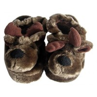 Childrens Brown Moose Animal Slippers