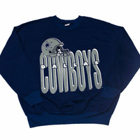 Vintage 1980s Dallas Cowboys Crewneck Sweatshirt Made in USA Mens Size Large