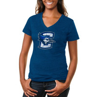 Creighton Bluejays Ladies Distressed Secondary Tri-Blend V-Neck T-Shirt - Royal Blue