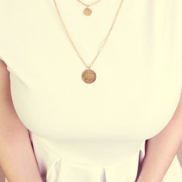 Golden Stamp Letter Layerd  Hammered Necklace - Free Shipping - Made to order :)
