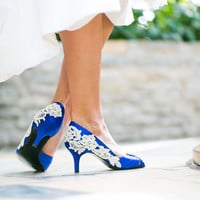 Wedding Heels - Royal Blue Wedding Shoes, Blue Bridal Shoes with Ivory Lace. US Size 9.5