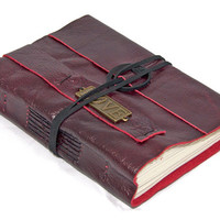 Deep Cherry Red Leather Journal with Love Bookmark