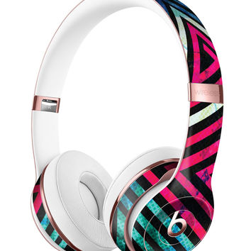 Grungy Neon Triangular Zig Zag Shapes Full-Body Skin Kit for the Beats by Dre Solo 3 Wireless Headphones