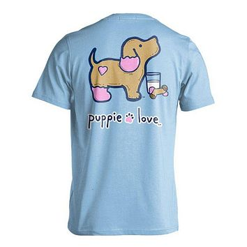Cookie Pup Tee in Light Blue by Puppie Love