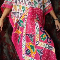 Boho Kaftan Caftan Dress Multicolor India Cotton Antique Sari Saree HippieWild Hippie Robe Beach Cover up Hippy Bohemian L XL Plus