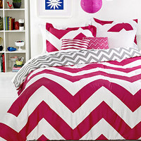 Chevron Pink 4 Piece Twin Comforter Set - Teen Bedding - Bed & Bath - Macy's