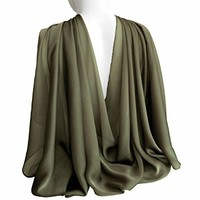 "Army Green Wide Long 77"" x 27"" Shiny Chiffon Scarf for Women Formal Evening Wrap Wedding Shawl Lightweight Cocktail Stoles in Gift Box"