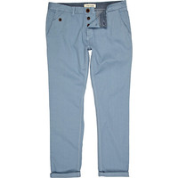 River Island MensBlue pastel rolled up slim chinos