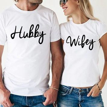 Hubby and Wifey Couple T-Shirts - Unisex Crew Neck Novelty Tee