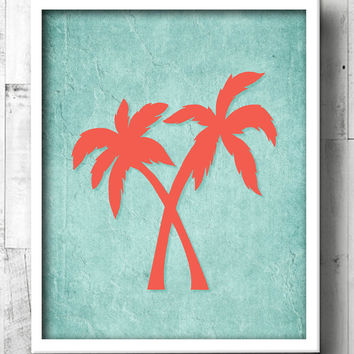 Palm Tree Bathroom Art - Aqua & Coral Tropical Bath Prints - Beach Bathroom Wall Art - Beachy Bathroom - Palm Tree Decor - Beach House Art