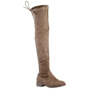Womens Knee High Boots Lace Up Block Heel Over the Knee Riding Boots Taupe