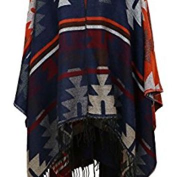 7 Seas Republic Women's Navy Geo Print Tassel Ruana Wrap