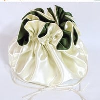 ON SALE 10% OFF Dollar Dance Bag, Satin Bridal  Reticule,  Ivory and Moss Green,   No Pockets, Super Sized