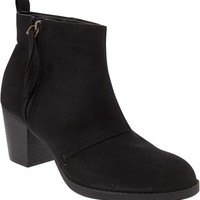 Old Navy Womens Faux Suede Zip Ankle Boots