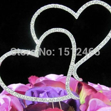 Free shipping,New style Silver Crystal Rhinestone Double Heart Cake Topper Wedding Engagment Anniversary Cake Topper DG01