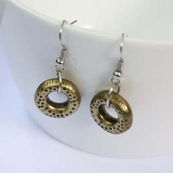 Donut earrings - upcycled and recycled earrings - Eco friendly and green - Funny, cute earrings - Brass coloured