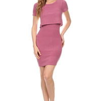 Short Sleeve Rib Knit Bodycon Dress - Pink