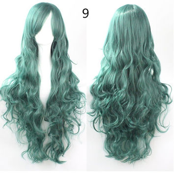 COS Wig Hair Extension woman wigs Hatsune Miku Cosplay Wig long hair wig wigs synthetic hair cap multicolor hair curly wig hair S2312-9
