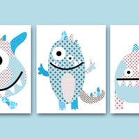 "Monster Nursery Childrens Art Kids Wall Art Baby Boy Room Decor Baby Boy Nursery Kids Art Baby Nursery Print set of 3 11""x14"" Blue Gray baby"