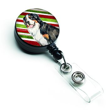 Bernese Mountain Dog Candy Cane Holiday Christmas Retractable Badge Reel LH9244BR