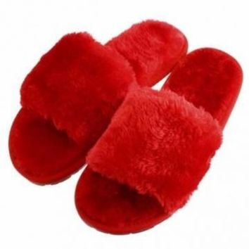 Open Toe Artificial Fur Slip On Flat Indoor Home Shoes