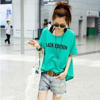 Playful Round Neck BLACK EDITION Print Short Sleeves Oversized Green Tee Top
