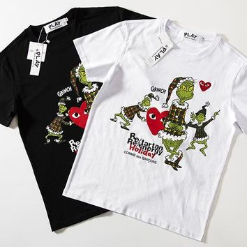 Print Short Sleeve Cotton Couple Sports T-shirts [1276630990884]