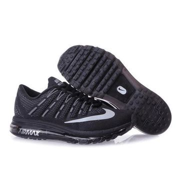 NIKE Trending Fashion Casual Sports Shoes AirMax Toe Cap hook section knited Black White hook