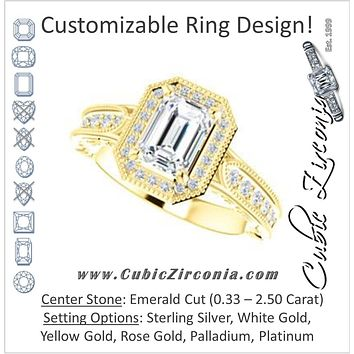 Cubic Zirconia Engagement Ring- The Zöe (Customizable Vintage Emerald Cut Greek Goddess Design)
