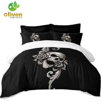 Cool Sugar Skull Bedding Set Black Silver Flower Print Duvet Cover Set King Queen Quilt Cover Pillowcase Soft Bedclothes 3Pcs D25AT_93_12