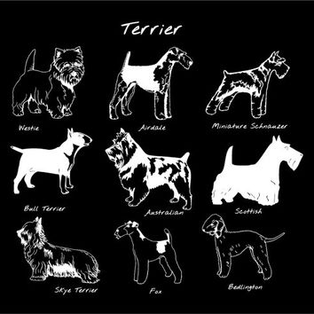 Terrier Dog Breed Vinyl Decal Sticker Custom Car Vehicle Auto Decal Westie Airdale Bull Fox Scottish Bedlington Austrailan Skye Schnauzer
