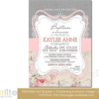Baptism Invitation - Girl - burlap lace pink gray floral - 5x7 vintage style, typography, christening - unique invitation - You Print