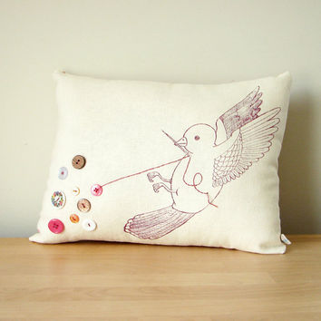 $50.00 Handmade Embroidered Pillow  The Button Collector by eggagogo