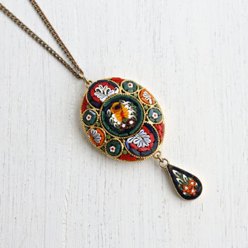 Vintage Micro Mosaic Necklace - Italian Glass Gold Tone Floral Italy Costume Jewelry / Colorful Tiles