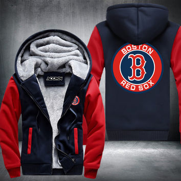 Boston Red Sox baseball Pullover hoodie jacket with thicken fleece and plus sizes