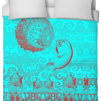 Moon and Manatee Duvet Cover