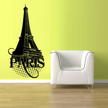 rvz1039 Wall Vinyl Sticker Bedroom Decal Paris Eiffel Tower France
